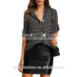 Womens Striped Fashion Shirt Blouses Black Lapel Long Sleeve Striped Buttons Casual Chiffon Office Blouse B016