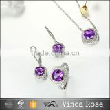 China wholesale fashion 925 silver jewelry sets for women unique purple zircon 18k white dubai gold plated silver jewelry set