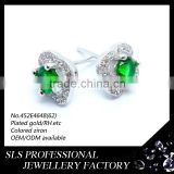 925 silver jewelry wholesale women's fashion square prong setting green stones stud earrings