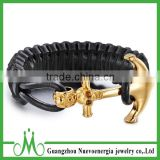 Wholesale leather bracelet shiny gold anchor bracelet for men most popular design mens leather bracelet