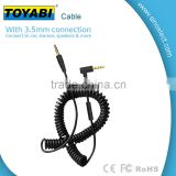 3.5mm coiled audio aux cable, spring aux cable with male to male
