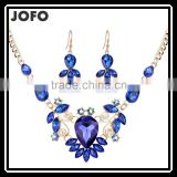 Jofo Brand 2016 Latest Popular Lady Alloy Blue Crystal Jewelry Set For Women and Lady