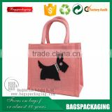 burlap pink dog printing handle shopping bags jute