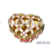 Enamel heart valentine's day gift ring box trinket box, jewelry box,jewelry case with crystals