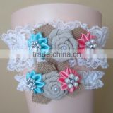 Aqua Blue And Coral Garter Set,Burlap Flower Rustic Wedding Garter,Ribbon Flower Lace Garter Belt With Pearl