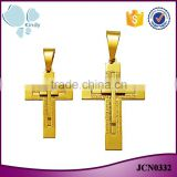 Factory wholesale double layer big and small stainless steel gold cross necklace pendant