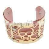 with Leather skull pattern Iron gold color Cuff Bangle