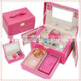 Pink leather jewellery gift box with key lock , mirrored jewellery box with drawer jewelry box design, jewellery safe box .