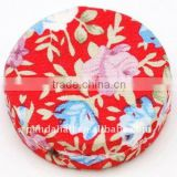 Woven Cloth Woven Beads, Acrylic with Cloth, Red, Flat Round, 33x11mm, hole: 3mm.(WOVE-R002-13)