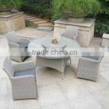 Round grey rattan dining chair and table with lazy Susan, plastic rattan wicker dining set