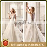 VDN03 Charming Cuatom Made Size Floor Length Bridal Party Gown Full Beaded Crystal Button Back Wedding Dress A Line Deep V Neck