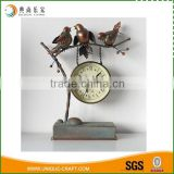 Antique brass birds home table decor metal clock home decoration