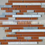 Hot sale with strip glass mix stone mosaic tile, wholesale mosaic tiles for bathroom AGL6087
