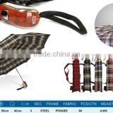 2014 new high-end quality of 3 fold automatically open and close multicolor rain umbrella, plaid wooden umbrella wholesale