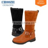 Wholesale Latest Fashion Black Suede Flat Heel Kids Knee High Leather Snow Long Boots for Girls