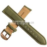 Stamped Logo Canvas Stitched Italian Leather Watch Straps