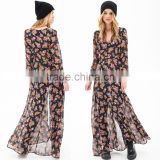 European Women Chiffon Dress Floral Print High Split Deep V-Neck Long Sleeves Button Maxi Dress Black