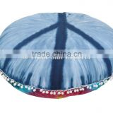 "Peace Sign Round Mandala Cushion Cover, Decorative Throw Pillowcases 32"", Indian Pouf Ottoman, Boho Floor Outdoor Cushion"