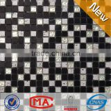 HF JTC-1318 simple black and white mosaic floor tile square marble mosaic black and white kitchen tile