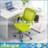 Q073E Best Choice Plastic Mesh Chair Mid Back Swivel Gas Lift Ergonomic Mesh Meeting Chair with Flip-up Arms