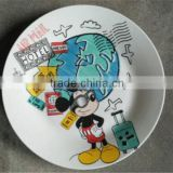 wholesale porcelain kids lunch plate cartoon dishes cheap dinner plate, kids ceramic food tray
