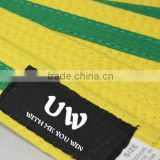 Martial Arts Belts Taekwondo/Karate/Judo Bjj Belt green+yellow color for wholesale