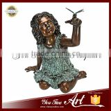 Outdoor Life Size Bronze Girl Sculpture With Bird Statue
