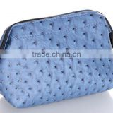 Fashion PU Ostrich Grained Leather Makeup Cosmetic Pouch Bag Storage Holder Case Hand Bag
