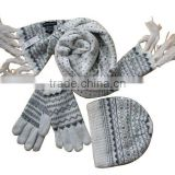 fashion winter girls 100%acrylic jacquard Knitted scarf glove hat sets with handmade beads