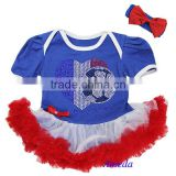 Baby Royal Blue White Red World Cup France Flag Heart Football Bodysuit Pettiskirt and Headband 0-18