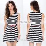 wholesale OEM summer women round neck sleeveless linen black and white striped pleated dress