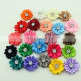 2015 new arrival handmade stain flower rhinestone for baby headband or garments accessories