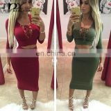 party women hot sales Women 2pcs Set Bodycon Bandage Crop Cut Out Sheer Top+Skirt Party Mini Dress
