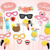 Aloha Flamingo Hawaii Summer Party Wedding Birthday Party Photo Booth Props Kit on Sticks