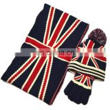 A028 Baby Kid Boy Girl Winter Knitted US Star,UK Hat+Scarf+Gloves 3Pieces Set