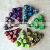 High quality Multi-Sided Dice New 7pc/lot dice set with marble effect d4 d6 d8 d10 d10 d12 d20 DUNGEON and DRAGONS rpg dice game