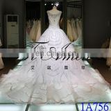 1A756 Real Sample Pictures Sweetheart A-line Luxury Middle East Style Beading Bling Wedding Dress 2016