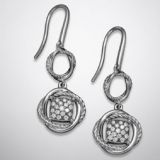 925 Silver Jewelry Pave Diamond Two Drop Infinity Earrings(E-103)