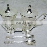 Silver Plated Brass Sugar And Milk Powder Bowl With Spoons And Serving Tray