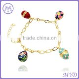 High quality enamel colors eggs together with crystal paved Faberge egg bracelet link charms jewelry