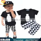 Ins Hot Sale Baby Bottle Cotton Tops Short Sleeve Printed T-shirt + Harlan Trousers Summer Boy Clothing Set