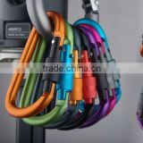 High quality Outdoor Multi Colors Climbing Button Camping Hiking Hook Carabiner