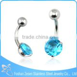 Curved Bar Claw Cubic Zircon Blue Body Piercing Navel Rings India