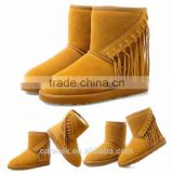 Fashion winter snow boots woman wedge boots tassel boots light brown color three color option