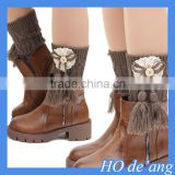 HOGIFT Flanging wool Boot Cuffs,fringed knit knee higher boots sock,Boot Toppers for Leg Warmers