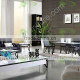 elegant modern simple antique temper glass metal stainless steel living room furniture set