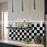 MA03 Factory price living room kitchen wall decoration black and white brushed aluminum metal mosaic tile