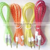 DC3.5 flat transparent Pattern metal cable /4 colors