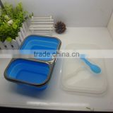 2014 hot sell BPA free food grade foldable silicone lunch box silicone picnic boxfor picnic