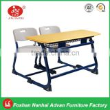 Double student desk and chair - plywood with laminated board desktop school furniture typr